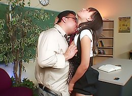Naughty 18 y.o. schoolgirl lets her old teacher tease and lick her nipples and gives him a blowjob right in a classroom