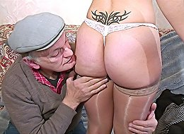 Slutty tattooed brunette riding old cock and getting gangbanged by horny grandpas and a muscular black stud