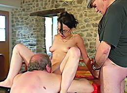 Brunette joins two old perverts for drinks in a local country bar and ends up getting banged right on a table
