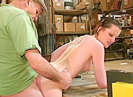 Old workshop owner and his horny employees gangbang an eager nubile cutie in stockings and high-heel shoes