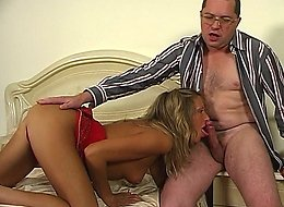 Horny aging male makes a girlie drink a little before doggystyle fucking