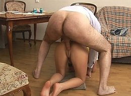 Perverted old man drills tight and wet pussy of his young coed because she couldn't pass her exams.